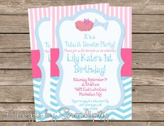 Printable party invitation tutus and ties party theme 1300 via printable party invitation tutus and ties party theme 1300 via etsy birthday parties pinterest printable party invitations printable party and filmwisefo