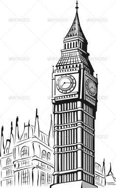 Sketch of Big Ben London - Travel Conceptual