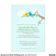 Spring Love Birds Wedding Invitation