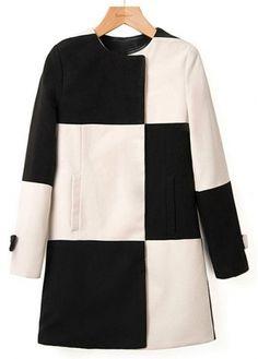 European Style Button Closure Color Matching Woolen Coats