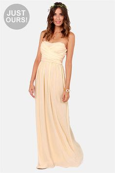 LULUS Exclusive Slow Dance Strapless Cream Maxi Dress -- for the wedding Cheap Dresses, Cute Dresses, Beautiful Dresses, Gorgeous Dress, Casual Dresses, Homecoming Dresses, Bridesmaid Dresses, Wedding Dresses, Party Dresses