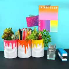 Use soup cans to make cute planters! soup cans to make cute planters!,Handmade & DIY Use soup cans to make cute planters! Kids Crafts, Tin Can Crafts, Diy And Crafts Sewing, Cute Crafts, Diy Crafts Videos, Crafts For Teens, Easy Crafts, Craft Projects, Soup Can Crafts