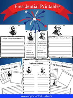 Free Presidential Printables – Plus 15 other great President's Day Resources - Homeschooling