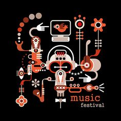 Music Festival - isolated vector illustration on black background. Artwork placard with text