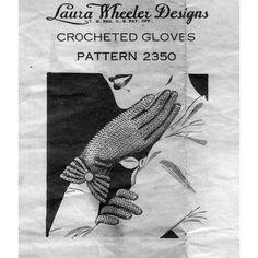 Crochet Cuffed Gloves Pattern, Vintage Laura Wheeler 2350