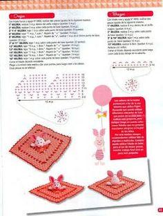"Photo from album ""Crochet mantas de apego on Yandex. Crochet Animals, Crochet Toys, Crochet Baby, Free Crochet, Knit Crochet, Crochet Security Blanket, Lovey Blanket, Sewing Patterns, Crochet Patterns"