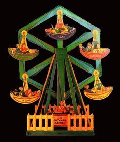 giostra:Giochi fatti con figure ritagliate di carta,  questo esempio è dei primi anni Cinquanta. Sono semplicemente una piccola meraviglia