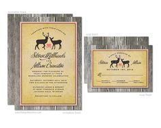 Rustic Wood & Deer Wedding Invitation and RSVP cards - DIY Printable or Printed Invitation Options