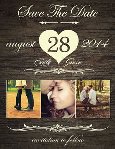 Save The Date Magnet, Card or Postcard . Rustic Heart