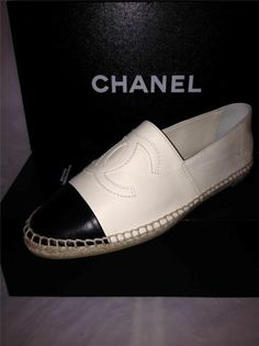 Chanel 14c Leather Two Tone Cap Toe CC Logo Espadrille Flat Shoes White Black | eBay Equivalent to a size 9us Womens