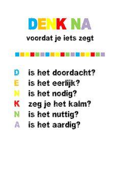 wees aardig en eerlijk Learn Dutch, Coaching, Leader In Me, School Posters, School Hacks, Primary School, Primary Education, Social Skills, Classroom Management