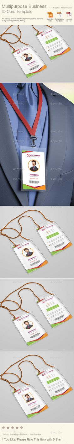 Multipurpose Business ID Card Template — Vector EPS #event pass #template • Available here → https://graphicriver.net/item/multipurpose-business-id-card-template/15724852?ref=pxcr