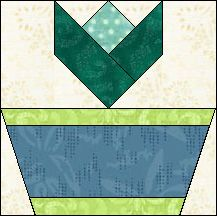 Block of Day for January 01, 2016 - Tiny Flower Pot-foundation piecing...can be downloaded till Jan 31st 2016