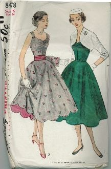 An original ca. 1952 Simplicity Pattern 8478.  Junior Misses's and Misses' One-Piece dress, Jacket and Cummerbund:  This flattering sleeveless dress has a low wide neckline scalloped at front upper edge.  Soft pleats at either side of center front seam at the bustline style the bodice.  The skirt is a full circle.  The brief jacket has three quarter length kimono sleeves.  The dress, View 2, features a scalloped hemline and contrasting cummerbund.
