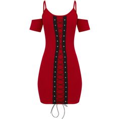 Red Cold Shoulder Lace Up Detail Bodycon Dress ($32) ❤ liked on Polyvore featuring dresses, body con dress, open shoulder dress, cut-out shoulder dresses, lace-up dresses and bodycon cocktail dresses