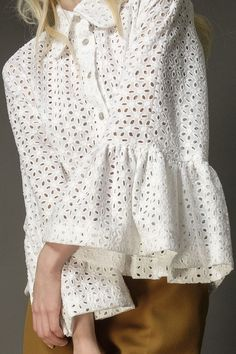 White cotton anglaise Angel sleeve blouse - product images of