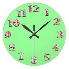 Bright green round clock with big cute numbers 22