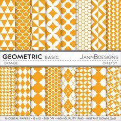 SALE 80% off Orange GEOMETRIC BASIC Digital by JAnnBdesigns