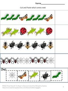 FREE - Patterns -Cut and Paste worksheet set. What comes next?