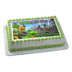 Plants vs Zombies 1 Edible Birthday Cake OR Cupcake Topper – Edible Prints On Cake (EPoC)