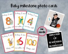 Excited to share this item from my #etsy shop: Baby girl shower gift, Babys first year photo cards, Circus baby announcement, Baby boy shower gift, Newborn boy monthly photo props,