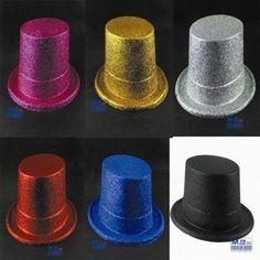 TALLER!!!!  Jazz Lincoln hat magician fedoras cap gold glitter round cap venetian masquerade ball decoration free shipping mix color