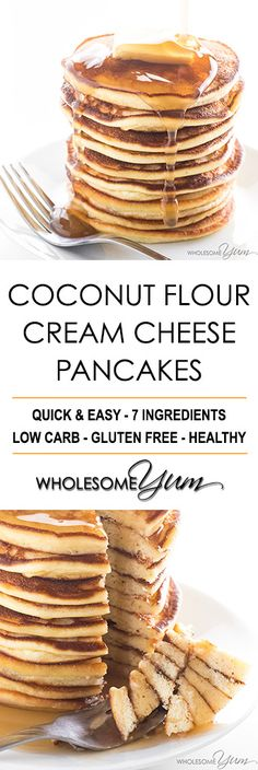 Coconut Flour Pancakes Recipe - Cream Cheese Pancakes with Coconut Flour - These coconut flour cream cheese pancakes are fluffy and delicious. An easy low carb, gluten-free pancakes recipe made with just a few common ingredients!