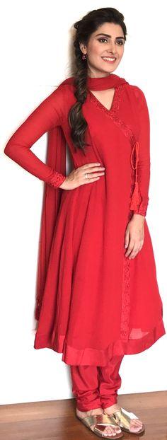 Ayeza Khan all Red Angrakha  Styled by Aneela Murtaza