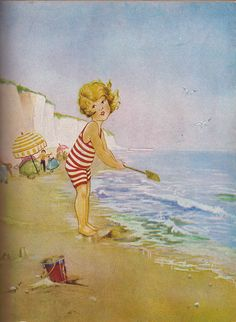 """At the Seaside E, """"A Child's Garden of Verses"""" by Robert Souis Stevenson. Illustrated by Eulalie Banks (British‐American,1895–1999).  Platt and Munk Co, Inc, 1929 and 1932."""