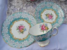 Royal Albert Enchantment Tea Trio - Tea Cup, Saucer, Tea Plate, Vintage English Turquoise, Floral, Gilt Bone China, Very Good Condition, 1st by ImagineHowCharming on Etsy