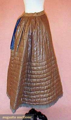 QUILTED SILK WINTER PETTICOAT, 1840s