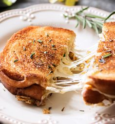 The Ultimate Gourmet Grilled Cheese, cooked in a savory rosemary butter and full of gooey cheeses and herbed caramelized onions!