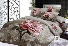 Elegant color pink rose reactive print 100% cotton 4 piece bedding sets (10532459) on sale, Buy Retail Price Floral Bedding Sets at Beddinginn.com