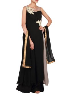 Black and grey anarkali suit adorn in silver zardosi embroidery only on Kalki