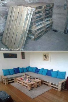 L shaped pallet couch