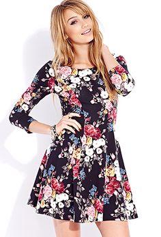 Sweet Rose Skater Dress | FOREVER21 - 2000074689