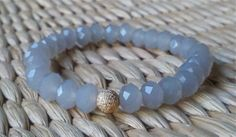 opaque light grey / gray mini crystal bracelet, only $10 each and great for stacking!