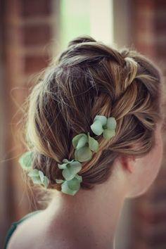 Simple braided crown wedding hairstyle with delicate leaves @Kat Ellis Hughes