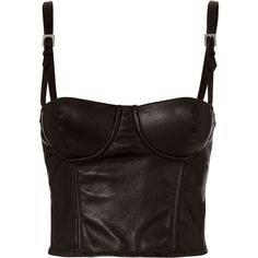 Fleur Du Mal Leather Bustier Top ($595) ❤ liked on Polyvore featuring tops, black, leather bustiers, fleur du mal, leather tops, leather bustier top and bustier tops