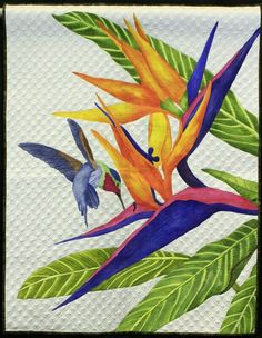 Gallery: NQA 2013 Quilt Show Winners, page 7 A Taste of Paradise by Deb Crine Landscape Art Quilts, Hawaiian Quilts, Tropical Quilts, Applique Quilt Patterns, Bird Quilt, Flower Quilts, Animal Quilts, Quilted Wall Hangings, Quilting Designs