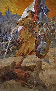 Allegory of the Polish victory in the Battle of Warsaw during the Polish-Soviet war, 1920.