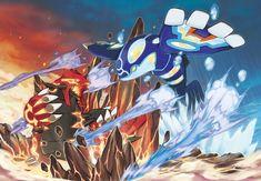 Pokemon Omega Ruby Alpha Sapphire Mega Kyogre Mega Groudon Artwork Wallpaper Official 3DS #Pokemon #PokemonORAS