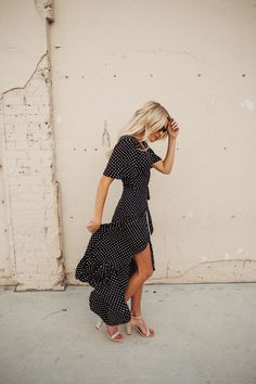 Polls dot dress! So cute and fun! I would probably badly wear a fun red shoe with this one!