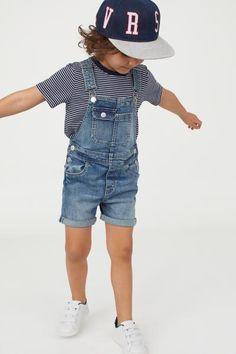 1346095ff Denim Bib Overall Shorts - Denim blue washed - Kids