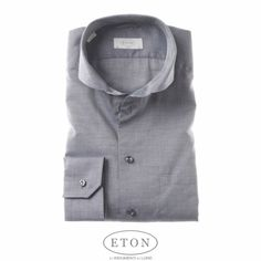 Eton Slim Fit Shirts -  A grey Eton shirt in cutaway collar. A Great Shirt!  This flannel Chelsea shirt combines softness with a light feel ...