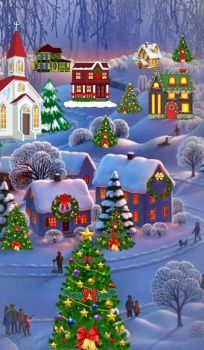 Solve Christmas scene jigsaw puzzle online with 66 pieces Merry Christmas Wallpaper, Merry Christmas Images, Noel Christmas, Vintage Christmas Cards, Winter Christmas, Christmas Crafts, Christmas Decorations, Christmas Costumes, Illustration Noel