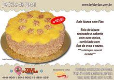 """Bolo Nozes com Fios (Especial de Natal) feito com: Bolo de Nozes recheado e coberto com ovos moles,confeitado com fios de ovos e nozes. Clique no botão comprar ou peça pelos telefones: (21) 3549-9052 (21) 4141-9051 WhatsApp: (21) 9-7982-8000 Compartilhe nossas delícias com seus amigos: [feather_share show="""" facebook, google_plus, twitter, pinterest, linkedin, tumblr"""" hide=""""reddit, mail""""]"""