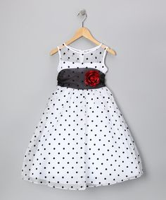 Love this White & Black Polka Dot Rose Dress - Infant, Toddler & Girls on #zulily! #zulilyfinds