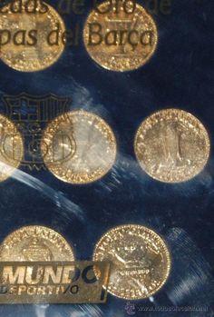 Lote o colección de las monedas de oro del BARCELONA BARÇA estuche original cerrado