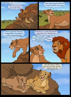 And now we jump forward a few months. Mirembe is leaving Pride Rock to give birth. Yes, she and Nkosi are a couple now. The First King, page 36 The Lion King 1994, Lion King 2, Disney Lion King, Lion King Story, Lion King Fan Art, Lion King Dialogue, Kiara And Kovu, Lion King Drawings, Simba Lion